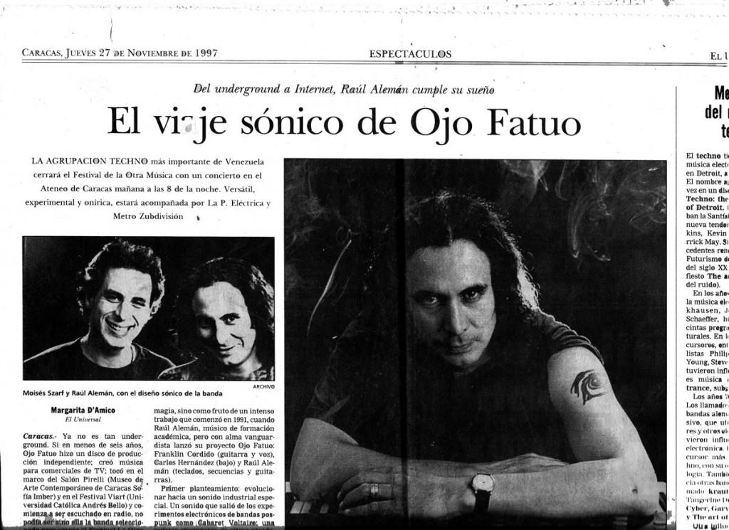 Periódico El Nacional Entrevista El Viaje Sonico de Ojo Fatuo El Nacional Newspaper Caracas Venezuela