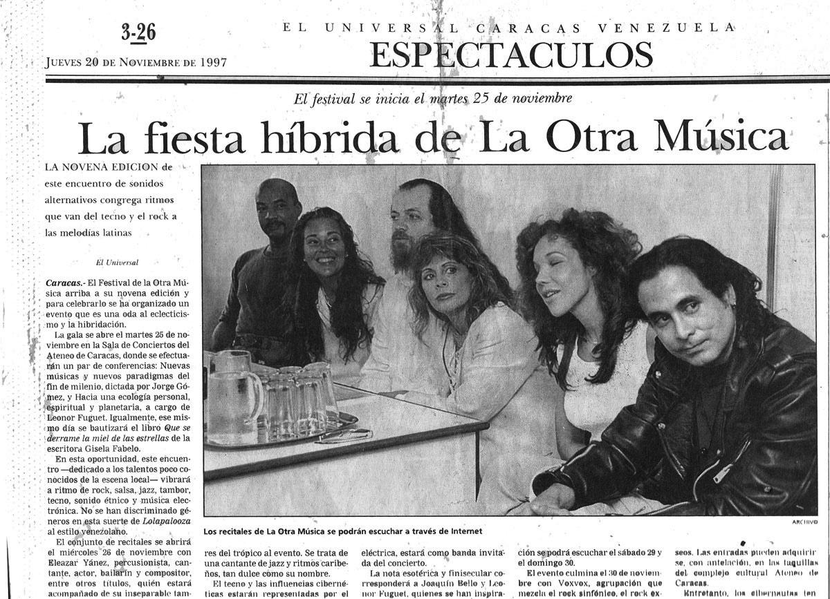 La Otra Musica Music Festival, Periodico El Universal Newspaper Ojo Fatuo Interview