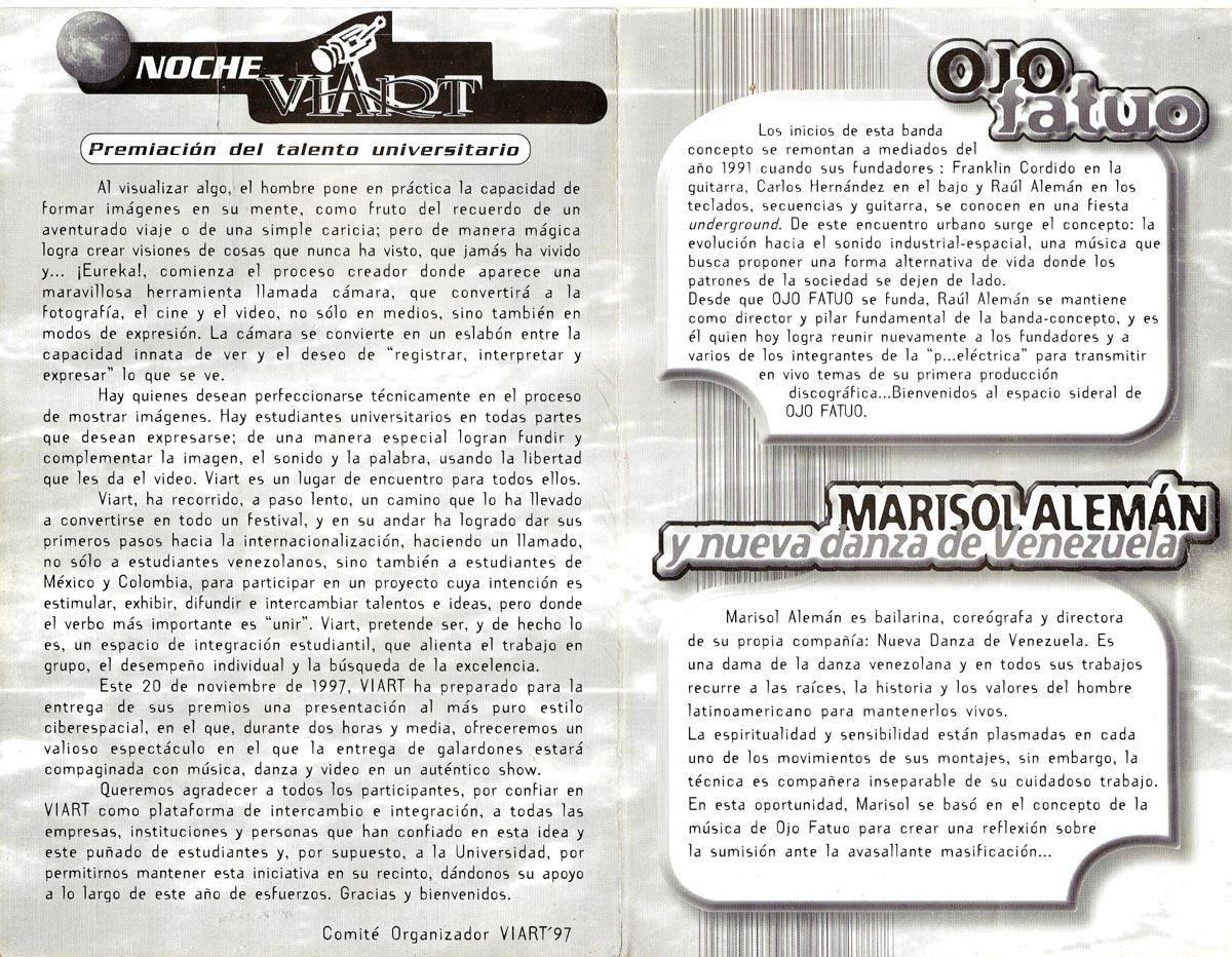 Premios Viart 1997 Brochure Ojo Fatuo Concert