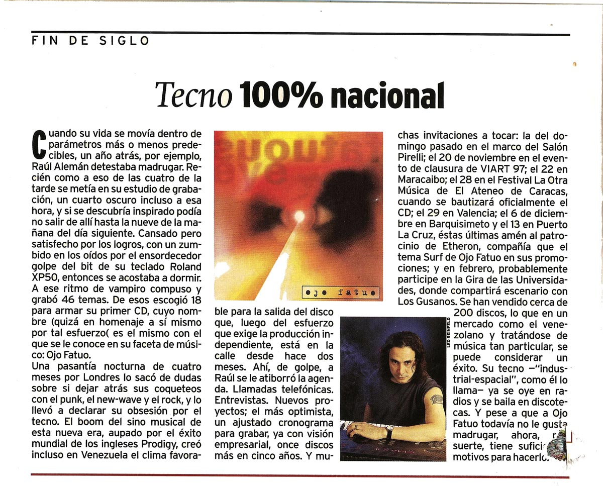 Primicia Magazine Show Interview Techno 100% Ojo Fatuo