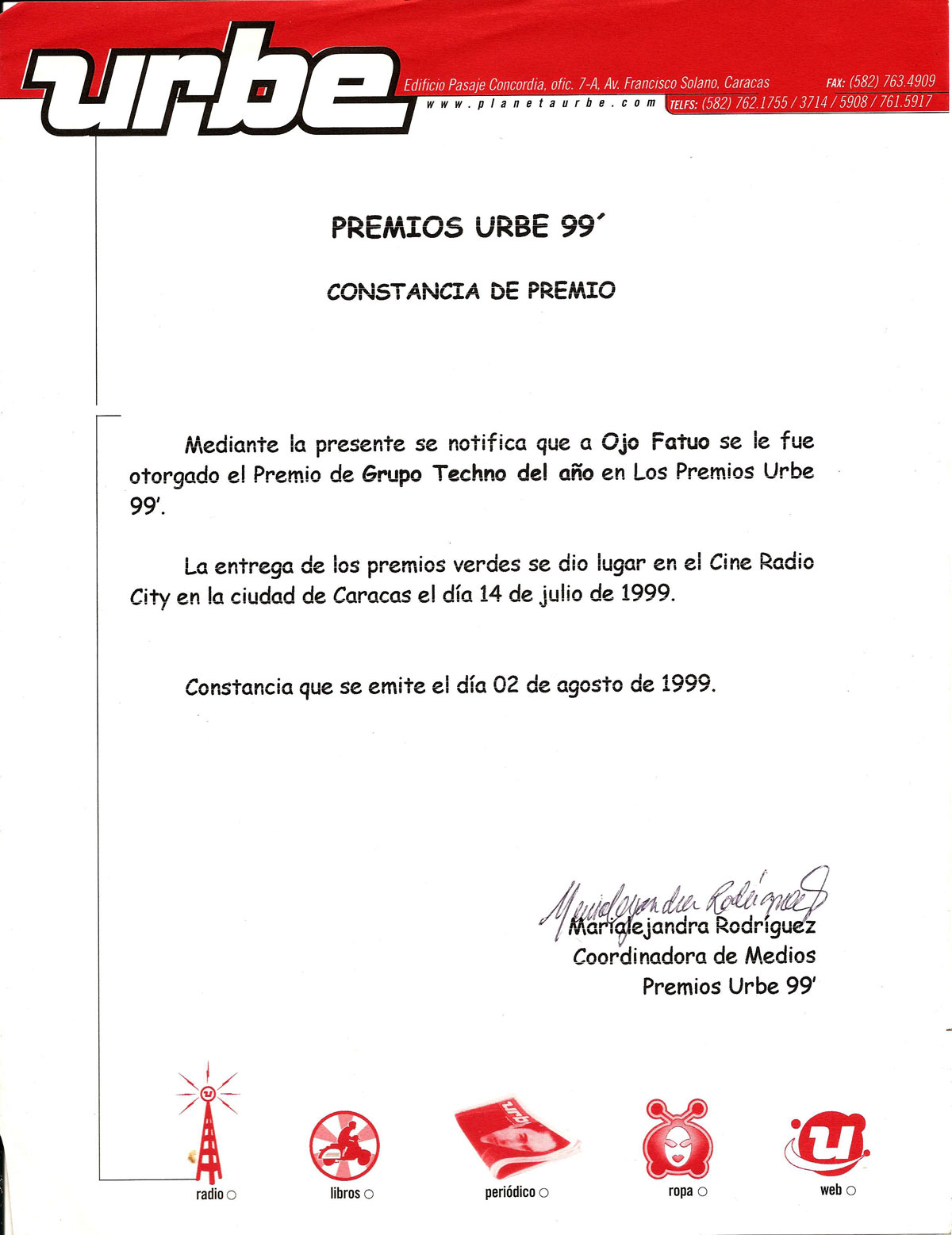 Urbe Awards Winner Certificated Venezuela Best Venezuela DJ 1999 Premios Urbe